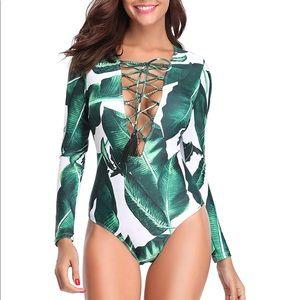 One Piece Long Sleeve Swimsuit Deep V Neck Suit